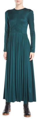 Gabriela Hearst Hermina Long-Sleeve Pleated Silk Ankle-Length Dress