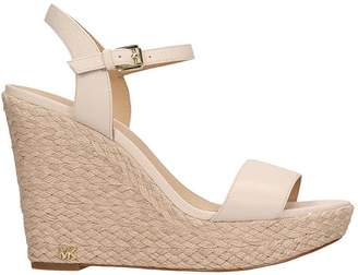 Michael Kors Nude Leather Jill Wedge Sandals