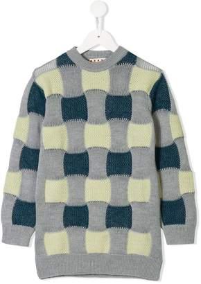 Marni colour-block plaid jumper