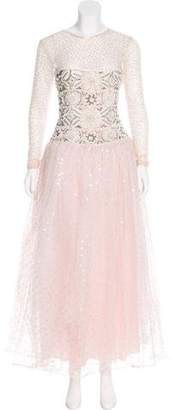 Naeem Khan Semi-Sheer Embellished Gown