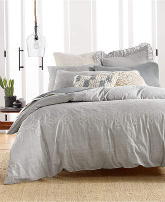 Lucky Brand Cotton Reversible 3-Pc. Tile Seed Stitch King Duvet Cover Set, Bedding