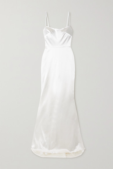 Halfpenny London - Dion Stretch-duchesse Satin Gown - Ivory