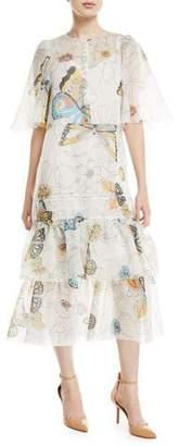 See by Chloe Long Butterfly-Print Cape-Effect Dress