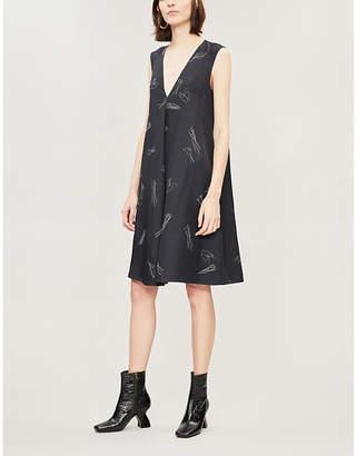 Theory V-neck printed silk mini dress