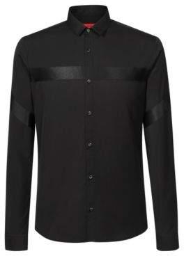 HUGO Boss Extra-slim-fit shirt in cotton tonal ribbon details S Black