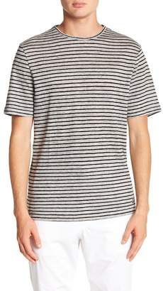 Report Collection Striped Linen Crew Neck Tee