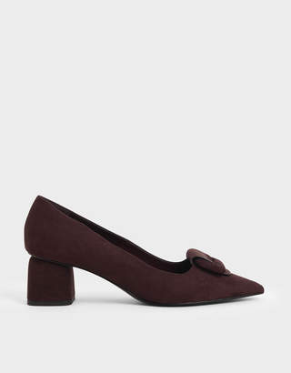 Charles & Keith Front Buckle Textured Pumps