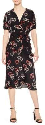 Sandro Eclat Heart Motif Lace Silk Dress