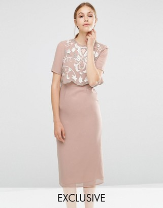 Frock and Frill Embellished Overlay Pencil Dress $138 thestylecure.com