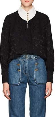 Mayle Maison Women's Contrast-Neck Floral Silk Jacquard Blouse