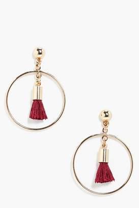boohoo Simple Hoop Tassel Earrings