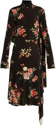 Vetements Open-back floral-print crepe-cady dress
