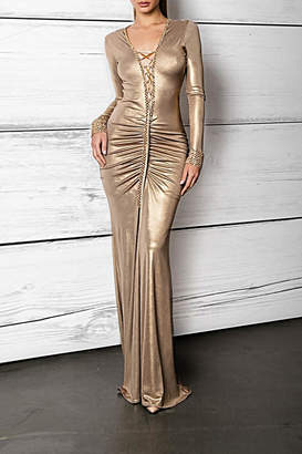 Savee Couture Metallic Lace Up Dress