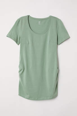 H&M MAMA Cotton Jersey Top - Green