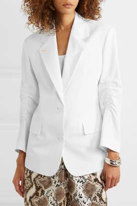 Pushbutton - Ruched Cotton-blend Blazer - White