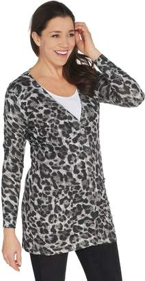 Lisa Rinna Collection Printed Button Front Boyfriend Cardigan