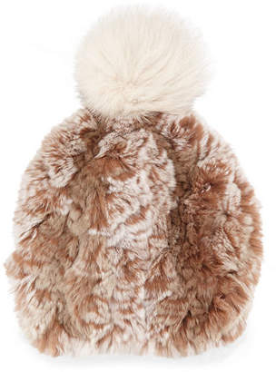 Glamour Puss Glamourpuss NYC Knitted Fur Pom-Pom Hat, Sand