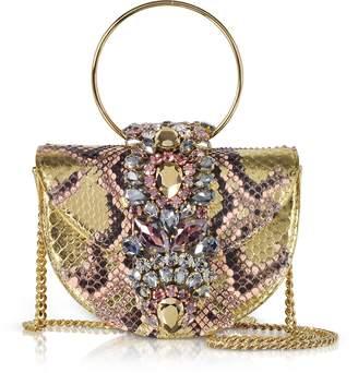 BRIGITTE Gedebe Mini Pink Gold Python Clutch w/Crystals and Chain Strap