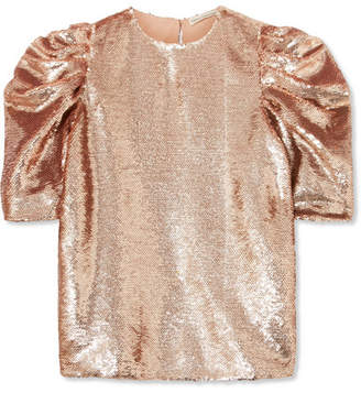 Ulla Johnson Rae Ruched Sequined Tulle Top - Metallic
