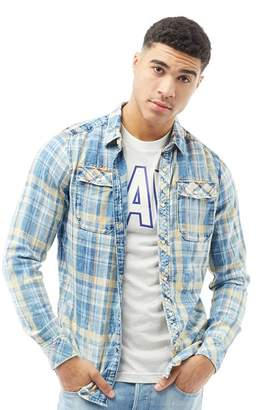G Star G-STAR Mens Landoh Shirt Indigo Bald Check