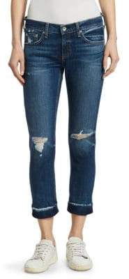 Rag & Bone Dre Slim-Fit Ankle Distressed Knee Frayed Hem Boyfriend Jeans