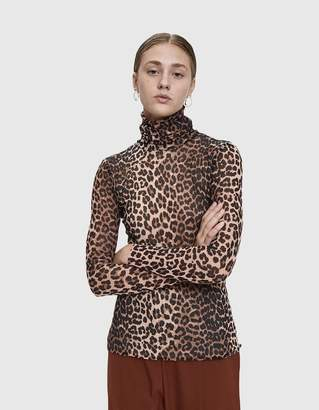 Ganni Tilden Leopard Print Mesh Turtleneck