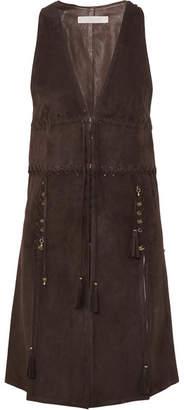 Chloé Embellished Tasseled Suede Vest - Brown