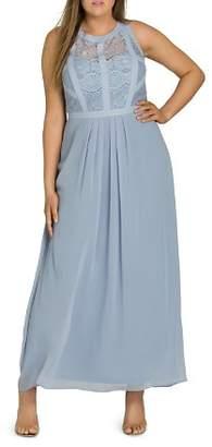 City Chic Plus Paneled Lace Maxi Dress