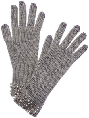 Qi Argento Pearl-Trimmed Cashmere Gloves