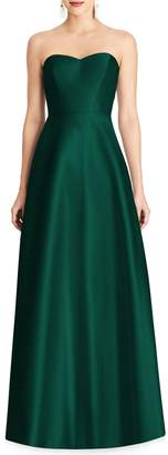 Alfred Sung Strapless Sateen Gown