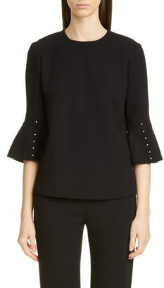 Lela Rose Button Sleeve Top