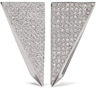 Saint Laurent Enameled Silver-plated Crystal Clip Earrings