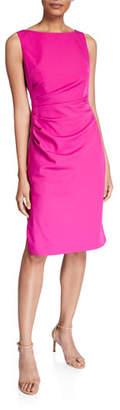 Milly Mishka Sleeveless Straight-Hem Ruched Cady Dress