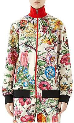 Gucci Women's Long-Sleeve Jersey Floral Zip-Up Jacket