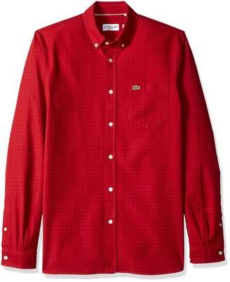 Lacoste Men's Long Sleeve Gingham Oxford Button Reg Fit Woven Shirt, CH5810