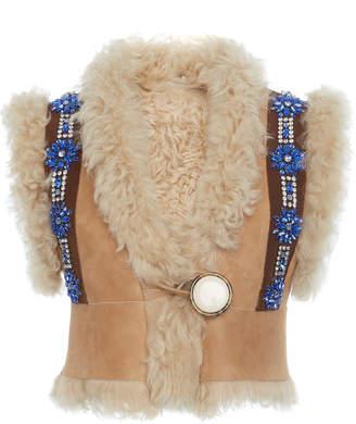 Miu Miu Faux Fur-Embellished Suede Vest Size: 36