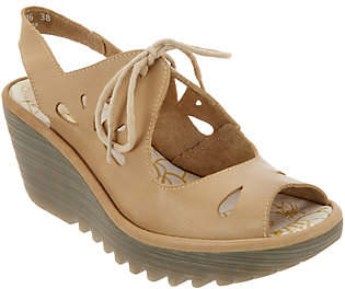 Fly London Leather Lace Up Wedges - Yend