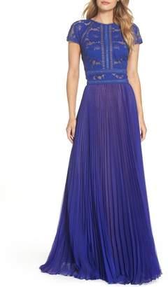 Tadashi Shoji Lace & Chiffon A-Line Gown