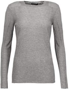 Belstaff Kora Tulle-Paneled Mélange Stretch-Knit Sweater
