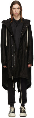 Rick Owens Black and Silver Fishtail Parka Coat