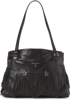Patrizia Pepe Fringe & Star-Studded Black Leather Borsa Bag