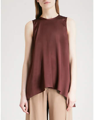 Brunello Cucinelli Ladies Burgundy Flared Silk-Satin Top