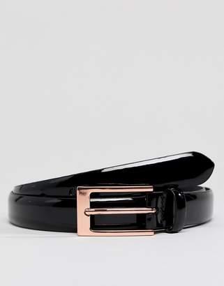 Ben Sherman skinny leather patent belt in black