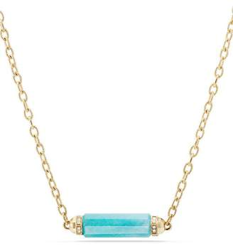David Yurman Barrels Single Station Necklace with Amazonite & Diamonds in 18K Gold