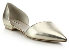 Giorgio Armani Metallic Leather d'Orsay Evening Flats