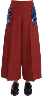 DELPOZO Cool Wool Wide Pants W/ Sequined Pockets