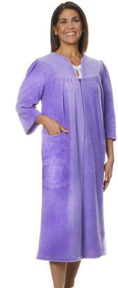 Silverts Disabled Elderly Needs Womens Warm Open Back Adaptive Fleece Robe - House Coat - MED