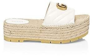 Gucci Women's Pilar Quilted Leather Espadrille Flatform Slides Sandals