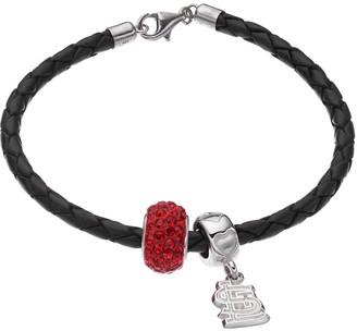 Logoart LogoArtSt. Louis Cardinals Crystal Sterling Silver & Leather Charm Bracelet