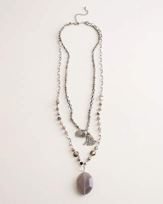 Chico's Chicos Gray and Neutral Beaded Double-Layer Necklace